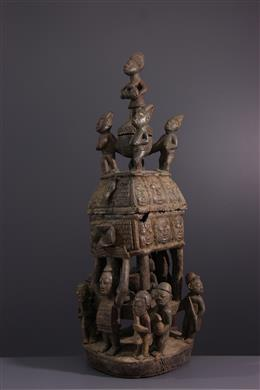 Yoruba monumental cup with offerings
