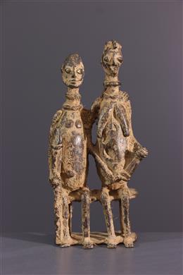 Tribal art - Dogon couple figures in bronze