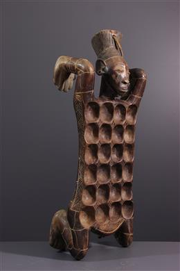 Tribal art - Game of awale anthropomorphic Mangbetu